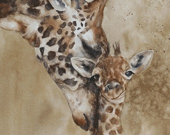 for him for dad Dorm decor giraffe painting watercolour PRINT art giraffe Africa Home Decor african wall hanging Watercolor giraffe