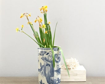Vintage Chinese Vase Octagon Blue White Flower Vase Chinoiserie Chic