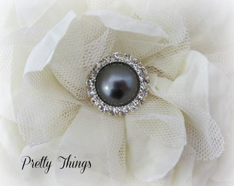 Dark Gray Pearl Buttons. QTY: 3 buttons