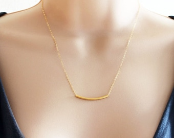 Gold Tube Necklace 14 karat Gold Filled Chain Minimal Jewelry Everyday Necklace