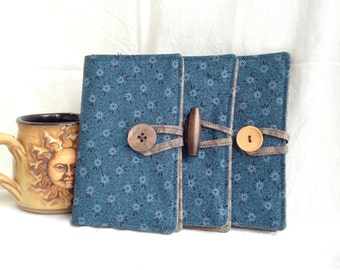Blue floral tea bag wallet / earth tones fabric wallet / business card wallet / gift for tea drinker