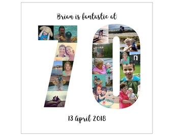 Personalised 70th Birthday Photo Collage Digital File