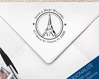 Eiffel Tower Return Address Stamp , French Address Stamp , Personalized Paris Eiffel Tower Stamp, Return Address Stamp | MS-R56