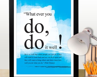 A3 Walt Disney you can do it quote poster. Motivational poster. Positive thinking office wall decor. Typography design. Blue (PO-A3-005)