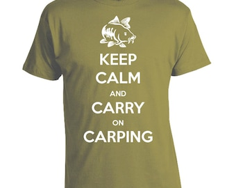 Keep Calm and Carry on Carping - Fishing T-shirt