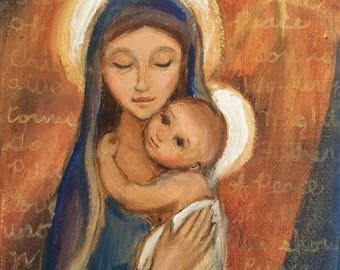 Mary and Baby Jesus Original Oil Painting