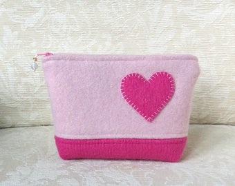 Heart Felt Zippered Pouch, Upcycled Felted Wool Sweater Clutch in Pink