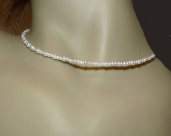 Minimalist necklace with pearly white beads fine jewelry for girls or women