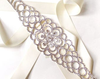 Sash - Blossoming Crystal Encrusted Bridal Belt Sash in SILVER - Satin Ribbon - Wide Silver and Rhinestone Wedding Dress Belt - Floral Sash