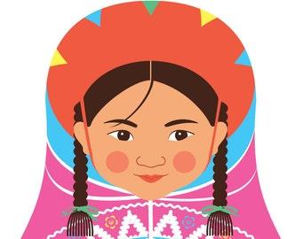 Peruvian Wall Art Print features cultural traditional dress drawn in a Russian matryoshka nesting doll shape