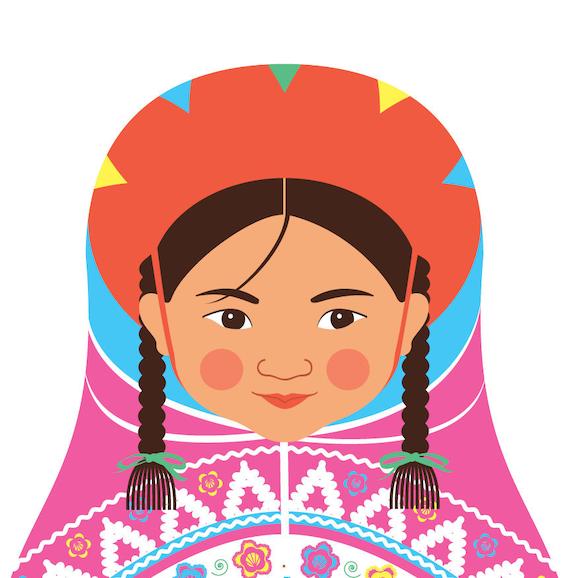 Peruvian Doll Art Print with traditional folk dress, matryoshka