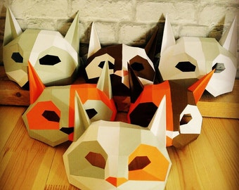 DIY Cat mask/Paper cat mask/DIY mask/Fancy dress/Halloween Mask/Printable Templates/Animal Mask/Kitten Mask/
