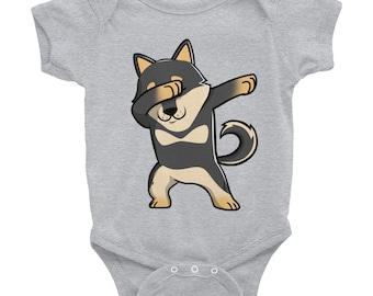 Black Shiba Inu Dabbing Funny Baby Onesie Bodysuit Cute Doge Meme Dog Gift