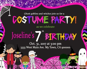 Halloween birthday invitation Personalized Printable Party Invites Costume Party Invitations Digital File