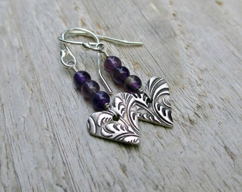 Silver Heart Earrings, Amethyst Earrings, Gemstone, PMC Jewelry, Arrow Earrings, Valentine Gift, February Birthstone Jewelry Gift Under 40