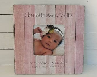Personalized baby frame - birth announcement - baby shower gift - personalized baby gift - gift to godparents - sonogram frame
