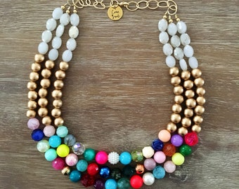 Gold Bead Necklace - Chunky Beaded Statement Necklace MultiStrand in Gold