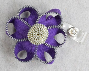 Purple Flower ID Badge Reel Made-to-Order -Zipper-Name Badge Holder -Upcycled-Recycled - Repurposed - ID Holder - Retractable Badge Reel