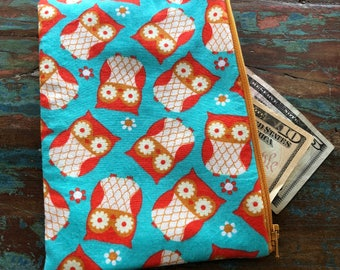 medium zipper pouch retro owls