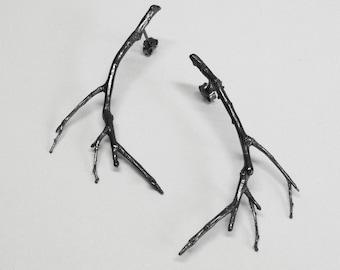 silver branch earrings, silver twig earrings, branch earrings, silver branches, black earrings, black rhodium plated earrings gift for her