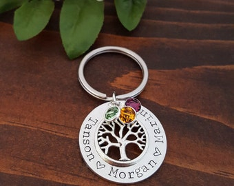 Personalized Keychain Gifts For Mom | Gifts For Grandma | Family Tree Birthstone Key Chain | Mom Key Chain | Birthstone Tree Key Chain