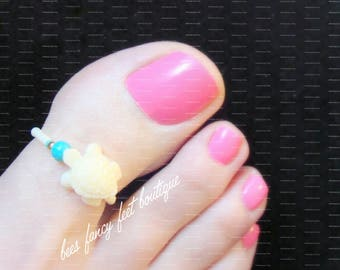 Big Toe Ring, White Stone Powder Turtle Charm, Turquoise Pearl Ring, Apricot Micro Beads, Stretch Toe Ring