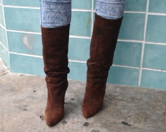 sz 7 m vintage brown leather tall high heel boots IMPERIAL labe bhs1l