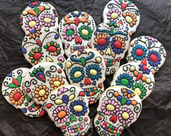 Sugar Skull Cookies- One Dozen Day of the Dead Decorated Sugar Cookies