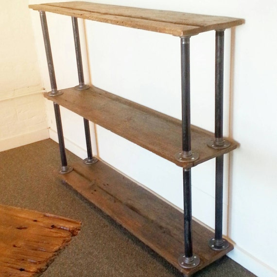 Maine barn wood and metal pipe bookshelf industrial bookcase Maine wood furniture