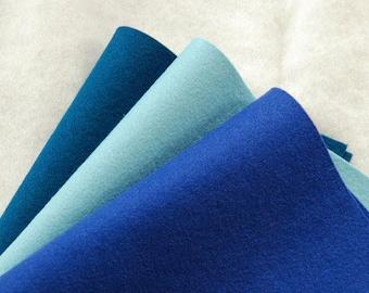 BLUES WOOL FELT Collection ~ 100% Wool Felt Oekotex Standard ~ 1-1.2mm felt sheets