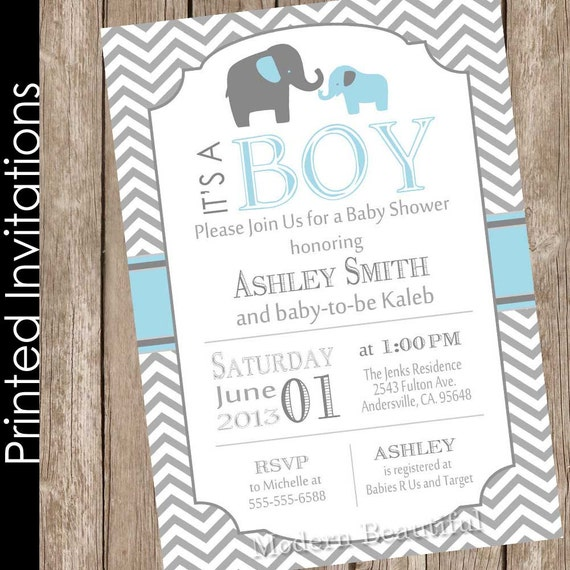 Printed Boy Elephant baby shower invitation blue and grey