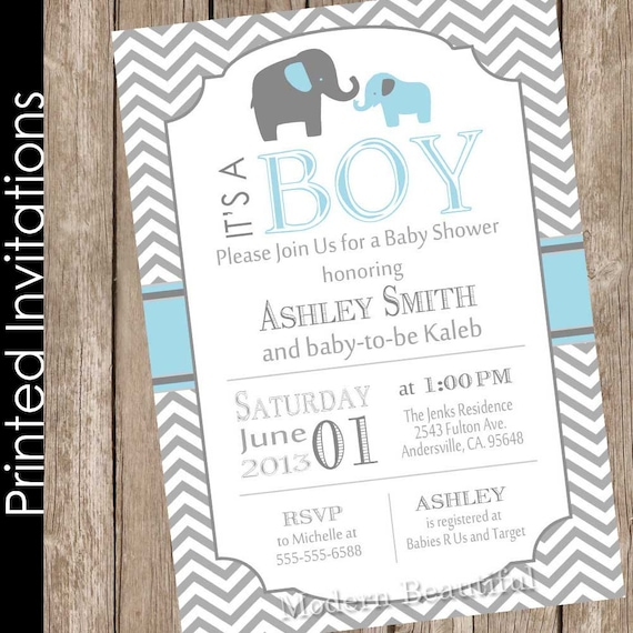 Attractive Printed Boy Elephant Baby Shower Invitation Blue And Grey