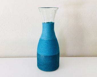 Beach Decor Vintage Glass Rope Vase Blue by SEASTYLE