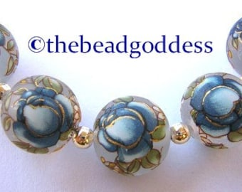 12mm Japanese TENSHA Beads BLUE Roses on FROST - 5 pieces
