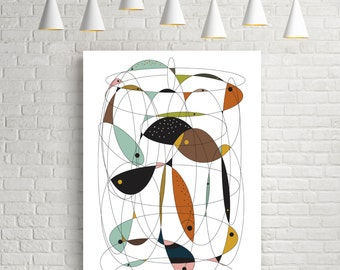 Fishing net, mid century modern art, cubist, wall decor, art prints, modern art, mid century, print, fish art, fish print, fine art prints