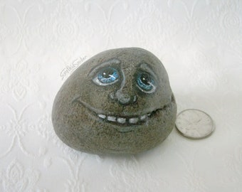 Painted rock, painted stone, creepy face, stone face, garden decor, funny rock face, creepy rock head, fairy garden, rock head, smiling rock