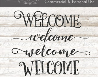 Welcome Svg File Bundle - Cuttable File - Svg Vinyl Files - Vector Art for Signs - Commercial Use Svg - Welcome DXF Files Set - Eps Png