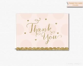 Thank You Card Printable Gold Glitter Blush Pink Instant Download Digital PDF Bridal Shower Baby Shower Birthday Thanks Thank You Card