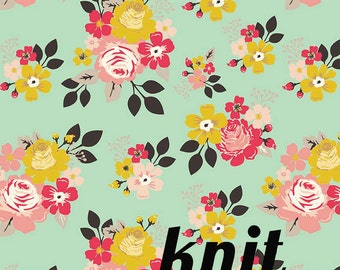 KNIT Vintage Daydream Main Floral Fabric in Mint Knit from Riley Blake Designs - Jersey Knit Stretch Fabric