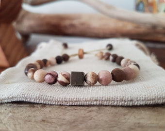 "Australian Brown Zebra Jasper Bracelet with Pyrite ""twist"""