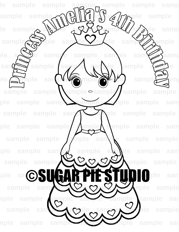 Princess coloring page birthday party favor digital printable