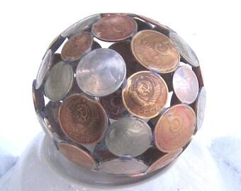 Ball of coins Figurine Sculpture 8.3 cm minimal contemporary home decor, gift idea #3