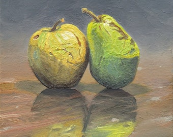 Still Life Painting. Fruits. Apple. Pear. Oil on Canvas
