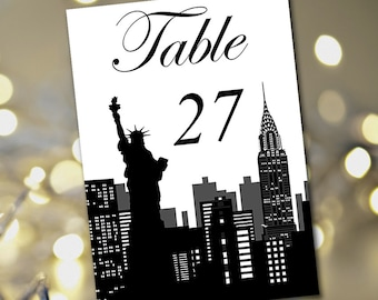 "Travel Theme Wedding Table Number Template ""New York Silhouette"" Table Card Instant Download - DIY Wedding Table Number Wedding Reception"