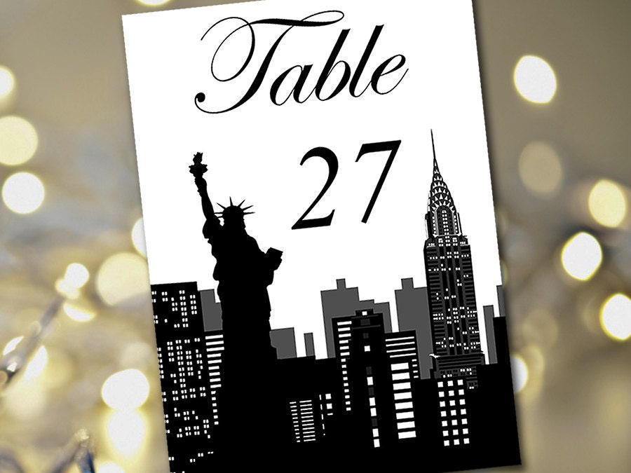 Travel Theme Wedding Table Number Template New York