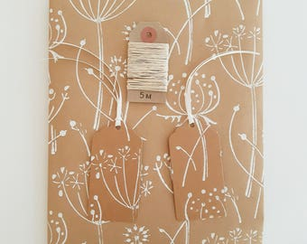 Floral Gift Wrap Set (Essentials Option) // 1 Sheet Kraft Wrapping Paper, 2 Gift Tags, 5m Hemp Twine // Seed Head Print in White or Blue
