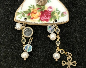 Broken China Country Rose Charm Necklace