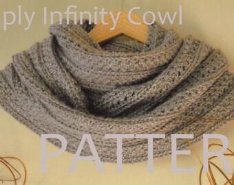 CROCHET PATTERN Simply Infinity Crochet Cowl Pattern Crochet Scarf Pattern Crochet Mobius Chunky Cowl