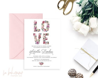 Printable Bridal Shower Invitation /  Shower Invite, Wedding Shower, Bohemian, Love,  - Love is the Message