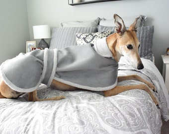 Preppy Hound Coat in Gray Faux Suede with Sherpa Lining